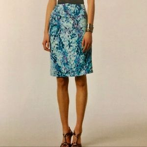 Stretch silk blue print gathered pencil skirt